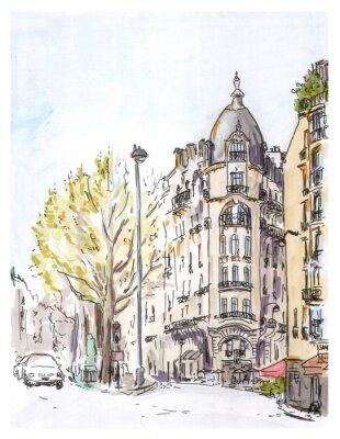 Plakát Ručně malované barva skica Pařížské ulice