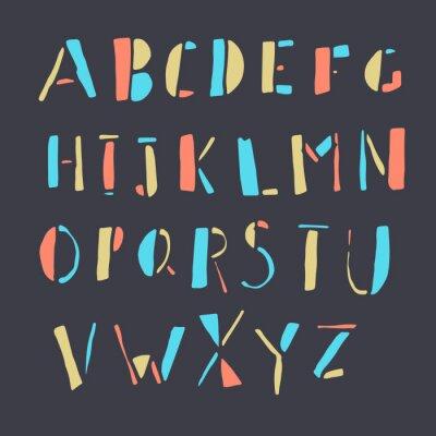 Plakát Ručně tažené barevné čmáranice abeceda