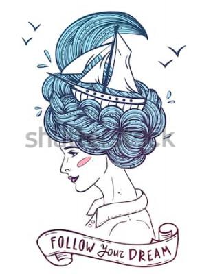 Plakát Ručně tažené barevný portrét snění mladé krásné ženy s lodí ve vlnách kudrnatých vlasů jako moře. Tetování, zentangle, móda, mořská, pohlednice, vintage stuha s textem