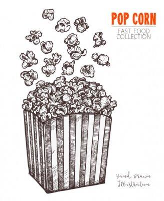 Plakát Ručně tažené skica popcorn, kino jídlo občerstvení v ryté stylu. Vektorové ilustrace plné krabice s létáním kukuřice. Symbol fastfood, kino, zábava. Vektor izolovaných na bílém pozadí
