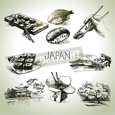 Plakát Ručně tažené vintage japonské sady