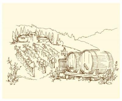 Plakát Ručně vyráběné náčrtu hroznové polí a vinic.