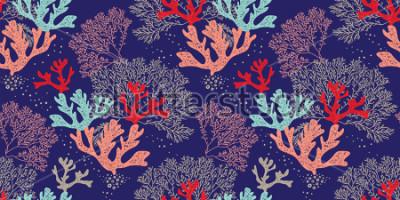 Plakát Ručně vyrobený pohodlný vektorový vzor. Módní vzory s korály a trámy na modrém pozadí pro tisk, textil, textil, výroba, tapety. Mořské dno.