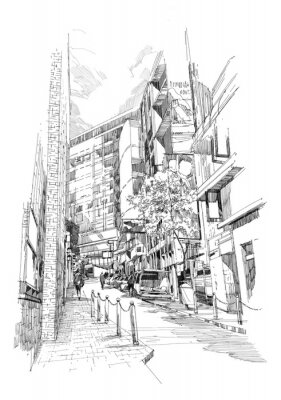 Plakát ruky skica staré uličky města