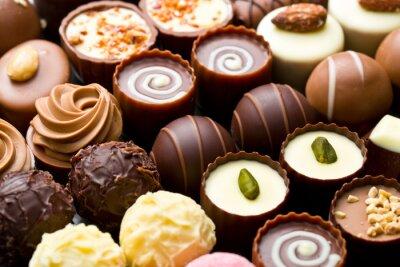 Plakát Různé čokoládové pralinky