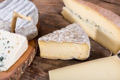 Plakát Různé druhy francouzských sýrů