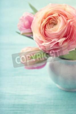 Plakát Růžové květiny ve váze