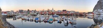 Plakát rybářské vesnice v Norsku