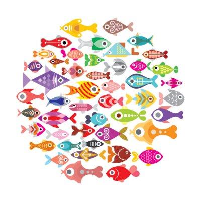 Plakát Ryby ikony kulaté