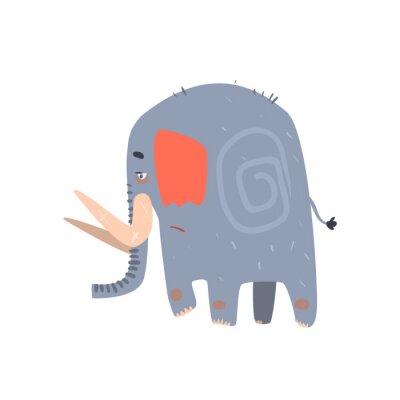 Plakát Sad Blue Elephant Walking
