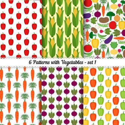 Plakát Sada bezešvých vzorů s různými zeleninou