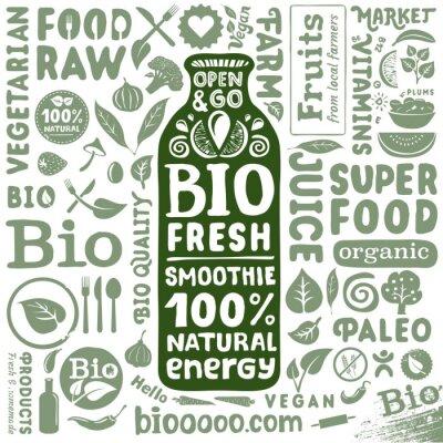 Plakát Sada ekologických štítků a ikony pro přírodní bio potravin