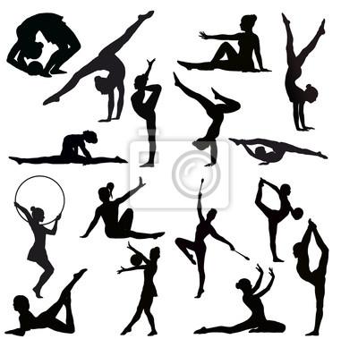 Sada Gymnastky Vektorove Siluety Plakaty Na Zed Plakaty Pruzny