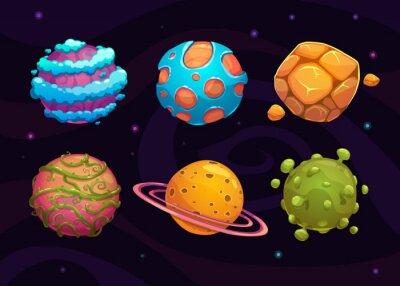 Plakát Sada karikatury fantasy planety