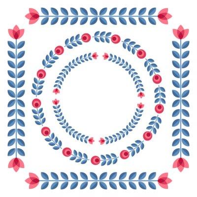 Plakát Sada konstrukčních prvků - kulaté květinové rámů