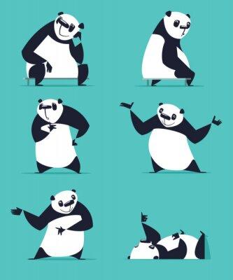 Plakát Sada Panda v různých pózách. Zasedání, snění, myšlení, které ukazují, ležící, zvaní, soustružení. Každý Panda je v samostatné vrstvě.