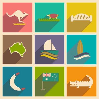 Plakát Sada plochých ikon s dlouhým stínem australský