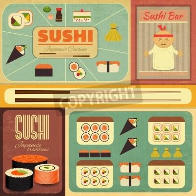 Plakát Sada Retro Sushi Etikety ve stylu vintage. Vektorové ilustrace.