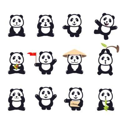 Plakát Sada roztomilý legrační kreslený pandy