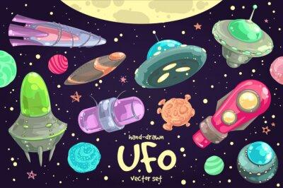 Plakát Sada ručně kreslených UFO