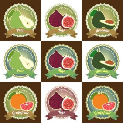Plakát Sada různých čerstvého ovoce prvotřídní kvality visačka štítek odznak nálepka