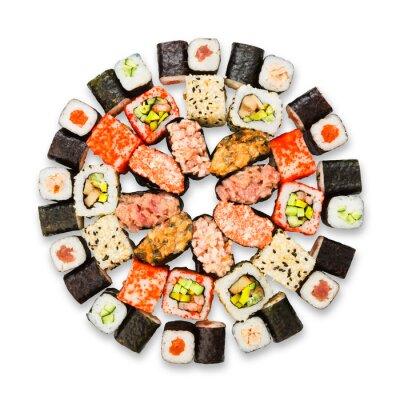 Plakát Sada sushi, maki a rohlíky izolovaných na bílém