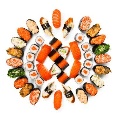Plakát Sada sushi, maki, gunkan a rohlíky izolovaných na bílém