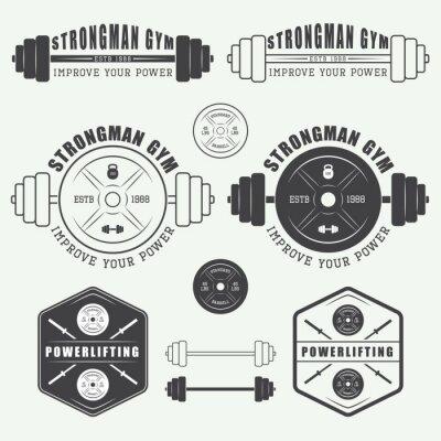 Plakát Sada tělocvična loga, štítky, odznaky a prvky vintage stylu