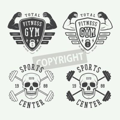 Plakát Sada tělocvičně loga, etikety a štítky ve stylu vintage