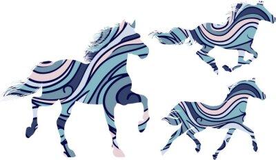 Plakát Sada tří modrých vzorovaných siluety běžících koní