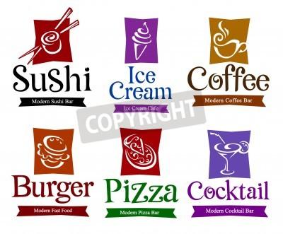 Plakát Sada vektorových symbolů a tituly pro Vaši potravin a nápojů designu.