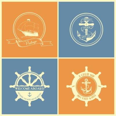 Plakát Sada vinobraní retro Námořní odznaky a štítky