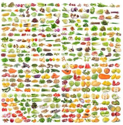 Plakát Sada zeleniny a ovoce na bílém pozadí