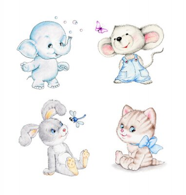 Plakát Sada zvířat: slon, myš, kotě, králíček