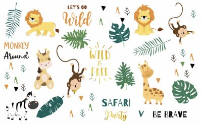 Plakát Safari object set with monkey,giraffe,zebra,lion,leaves. illustration for logo,sticker,postcard,birthday invitation.Editable element