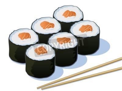 Plakát Salmon Sushi Rolls s Chop Sticks