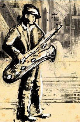 Plakát saxofonista (plné velikosti ruční kresba - původní)