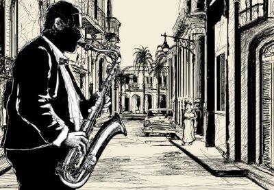 Plakát saxofonista v ulici Kuby