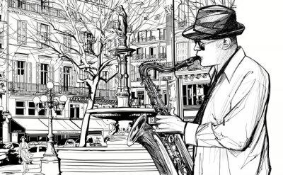 Plakát saxofonista v ulici Paříže