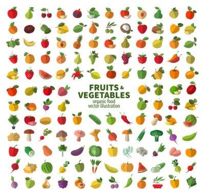 Plakát Sbírka ikon na ovoce a zeleninu. Čerstvé potraviny