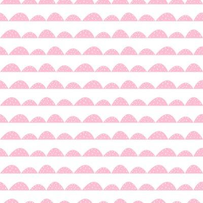 Plakát Scandinavian seamless růžový vzorek v ruce tažené stylu. Stylizované kopec řádky. Mávat jednoduchý vzor pro tkaniny, textilie a dětského prádla.