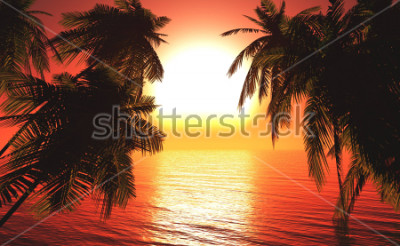 Plakát sea sunset among the palm trees, the sun over the water in the palm trees,3D rendering
