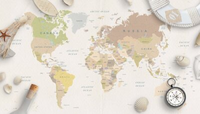Plakát Sea, travel things on world map conposition. Copy space in the middle. Top view, flat lay.
