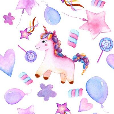 Plakát seamless design. unicorn. Balloons. candy on a stick. marshmallows. flower. magic wand star. watercolor. happy Birthday