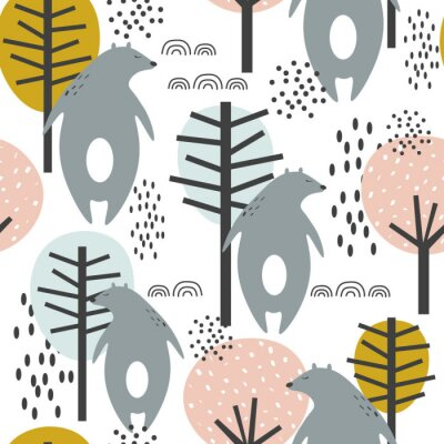 Plakát Seamless pattern, bears and trees, hand drawn overlapping backdrop. Colorful background vector. Illustration with animals. Decorative wallpaper, good for printing