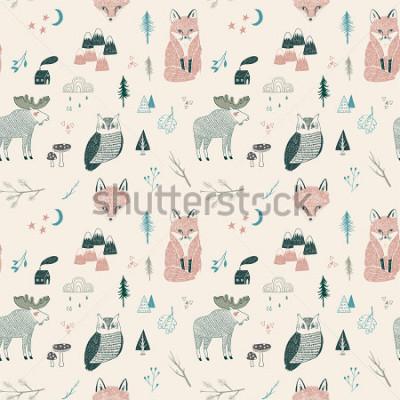 Plakát seamless pattern of woodland animals, trees, mountains