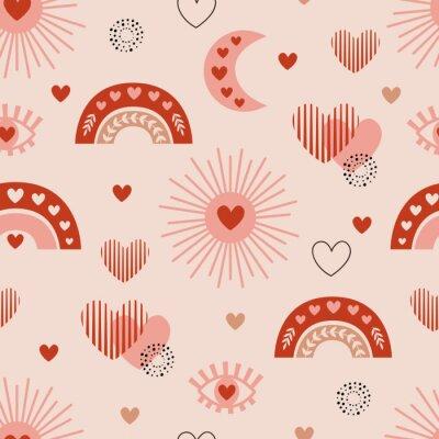 Plakát seamless pattern with love boho sun, rainbow, moon