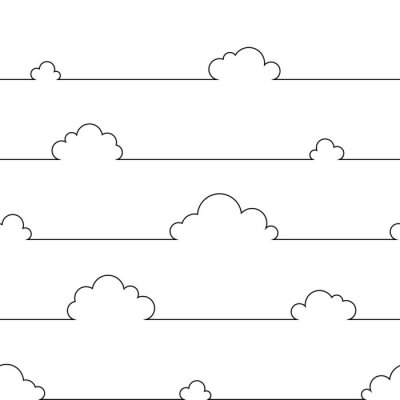 Plakát Seamless pattern with simple cartoon clouds in continuous line art drawing style. Black linear design on white background. Vector illustration