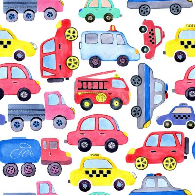 Plakát Seamless pattern with watercolor cartoon cars and spare parts. Design of children's clothing, wallpaper, packaging, background, wall