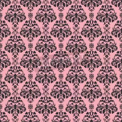 Plakát Seamless Pink Black damaškové